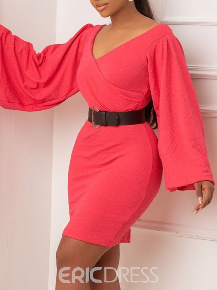 Ericdress Patchwork Long Sleeve V-Neck Pullover Bodycon Dress