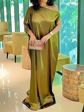 Ericdress Floor-Length Oblique Collar Three-Quarter Sleeve Plain Pullover Maxi Dress Plus Size