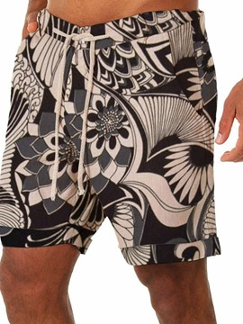 Ericdress Straight Floral Lace-Up Men's Beach Shorts