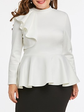 Ericdress Falbala Stand Collar Plain Standard Women's Long Sleeve White Blouse