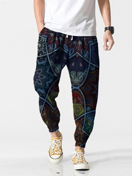 Ericdress Pencil Pants Print Lace-Up Men's Casual Pants
