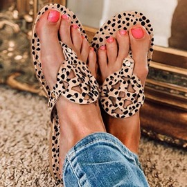 Ericdress Hollow Flat With Thong Leopard Slippers