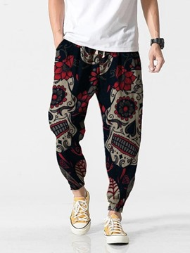 Ericdress Skull Pencil Pants Print Lace-Up Men's Casual Pants