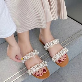 Ericdress Flat With Beads Slip-On Simple Slippers
