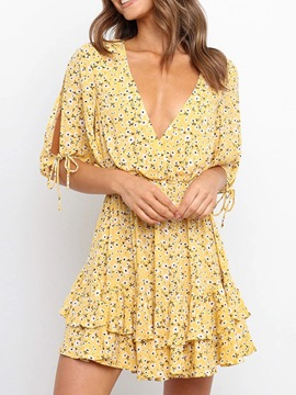 Ericdress Print Above Knee V-Neck Layered Dress Pullover Floral Dress Beach Dresses For Women