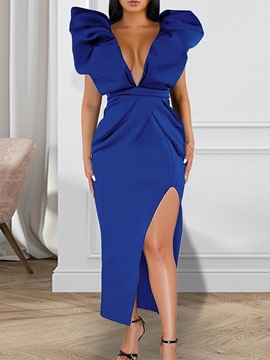 Ericdress Ankle-Length V-Neck Short Sleeve Bodycon Dress