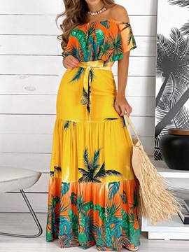 Ericdress Off Shoulder Short Sleeve Floor-Length Plant A-Line Maxi Dress