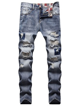 Ericdress Pocket Straight Zipper Men's Casual Jeans