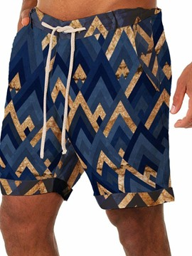 Ericdress Geometric Straight Lace-Up Beach Men's Shorts