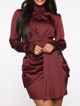 Ericdress Pleated Turtleneck Above Knee Burgundy Bodycon Dress