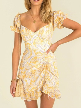 Ericdress Above Knee Short Sleeve Lace-Up Fashion Dress