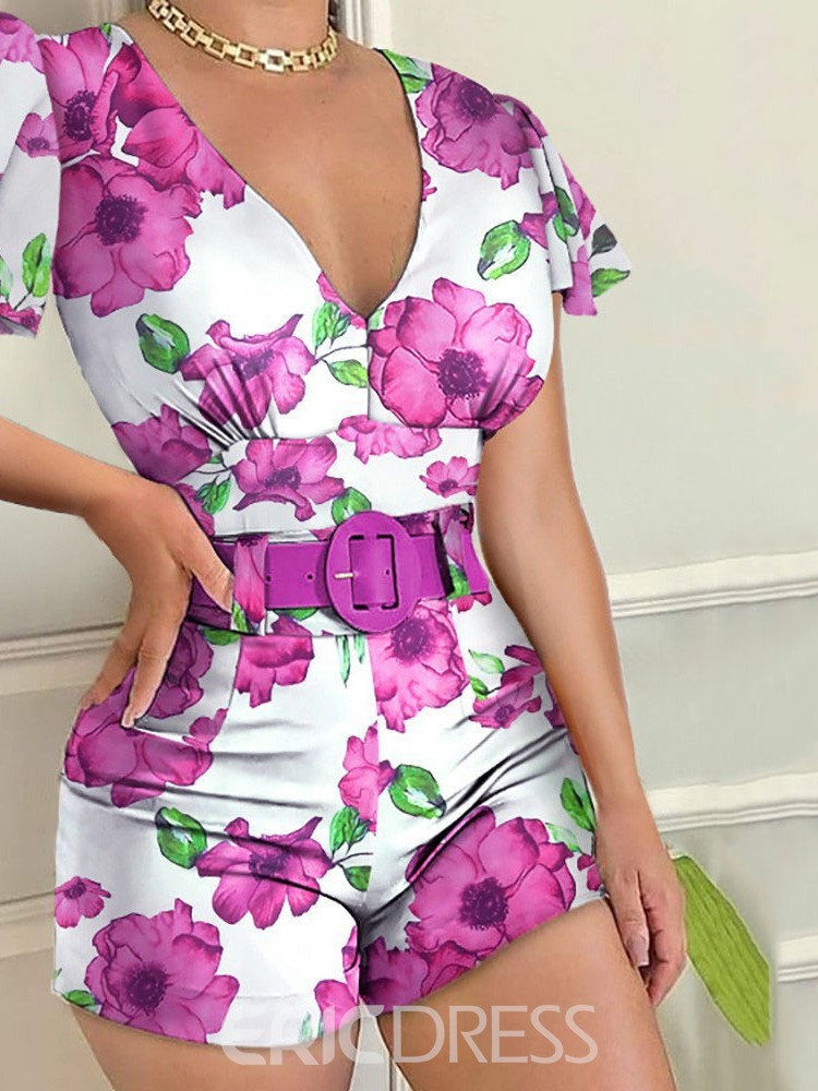 Ericdress Women's Deep V Sexy Floral Straight Slim Shorts Jumpsuit Without Belt