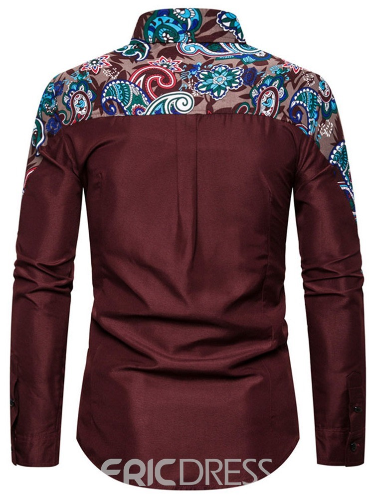 Ericdress Button Floral Casual Single-Breasted Men's Slim Shirt