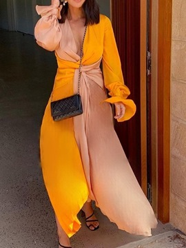 Ericdress Floor-Length Asymmetric Long Sleeve Color Block Asymmetrical Maxi Dress