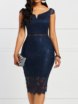 Ericdress Short Sleeve Mid-Calf Hollow Bodycon Dress