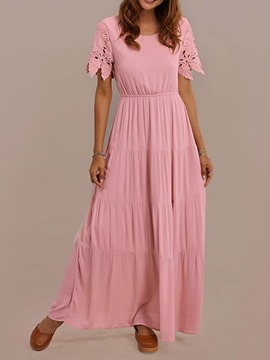 Ericdress Short Sleeve Round Neck Floor-Length A-Line Sweet Maxi Dress