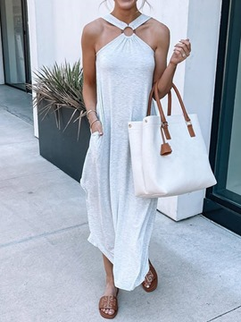 Ericdress Sleeveless Asymmetric Ankle-Length Plain Asymmetrical Maxi Dress
