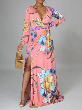 Ericdress Long Sleeve Patchwork V-Neck Travel Look Color Block Floral Maxi Dress
