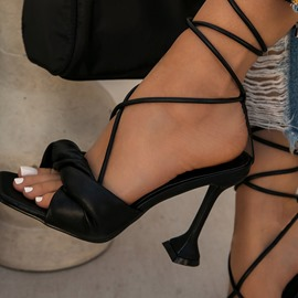 Ericdress Lace-Up Stiletto Heel Open Toe Lace-Up Women's Sandals