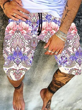 Ericdress Lace-Up Straight Floral Men's Beach Shorts