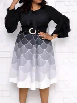 Ericdress Patchwork Nine Points Sleeve Mid-Calf Color Block Pullover Dress