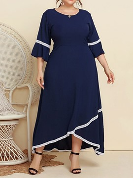 Ericdress Three-Quarter Sleeve Ankle-Length Round Neck Color Block Maxi Dress Plus Size