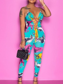 Ericdress Backless Sexy Animal Skinny Women's Pencil Pants Jumpsuit