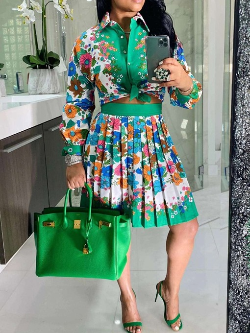 Ericdress Skirt Print Floral Pleated Single-Breasted Women's Two Piece Sets Dress Sets