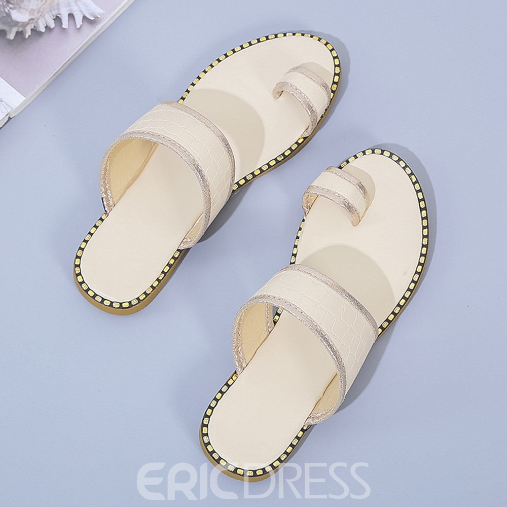 Ericdress Flat With Toe Ring Thread Western Women's Slippers