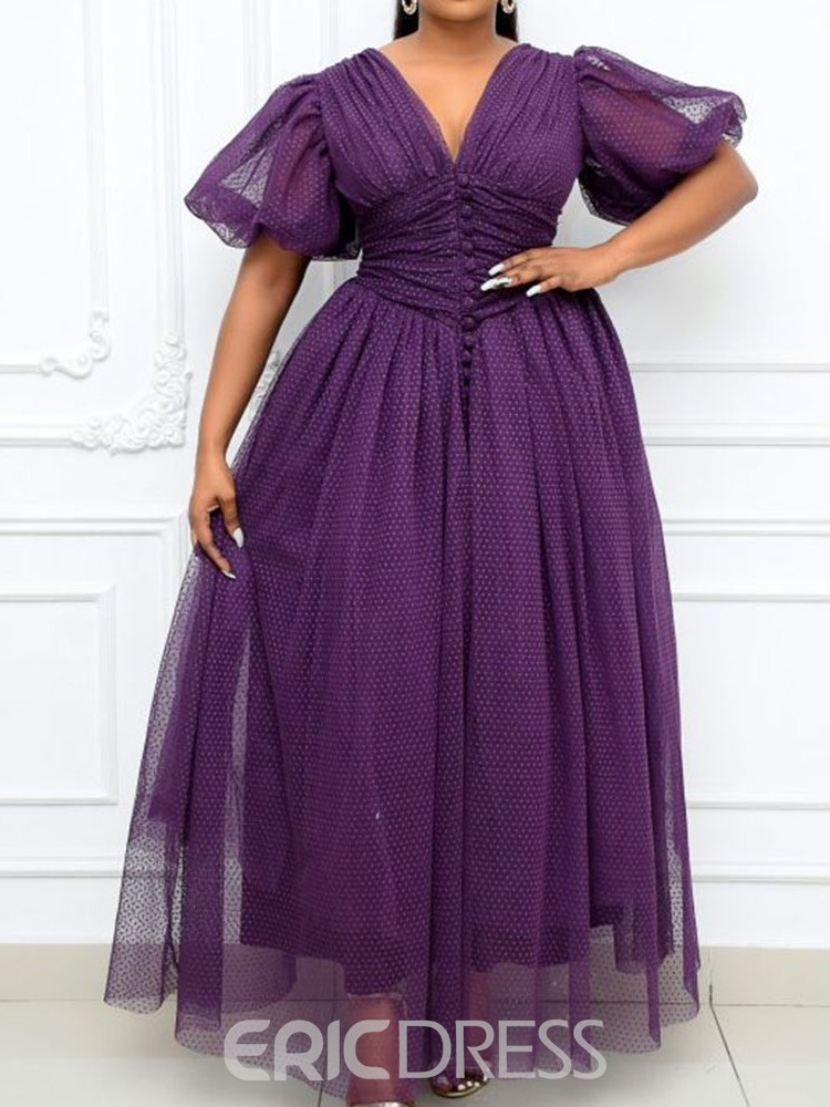 Ericdress Ankle-Length V-Neck Patchwork Office Lady Pullover Maxi Dress Plus Size