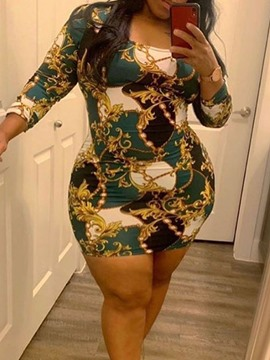 Ericdress Nine Points Sleeve Patchwork Above Knee Pullover Bodycon Dress Plus Size