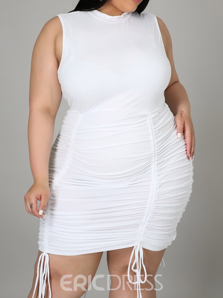 Ericdress Stand Collar Pleated Above Knee Bodycon White Dress Plus Size