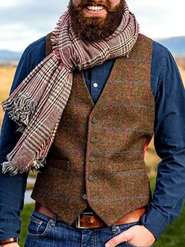 Ericdress Suspenders Plaid V-Neck Single-Breasted Men's Casual Waistcoat