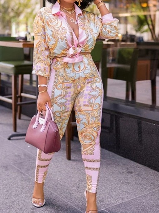 Ericdress Floral Print Fashion Pencil Pants Single-Breasted Two Piece Sets Pants Set