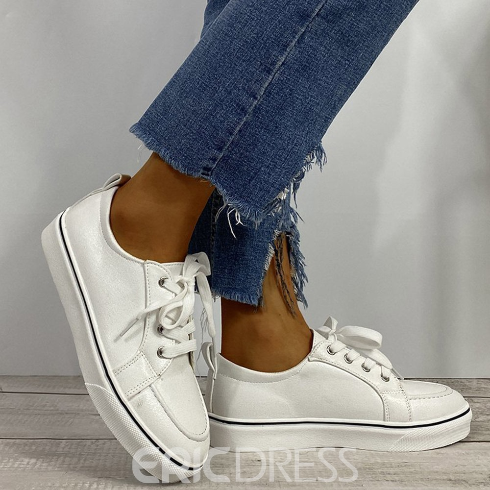 Ericdress Round Toe Lace-Up Lace-Up Flat With Women's Sneakers