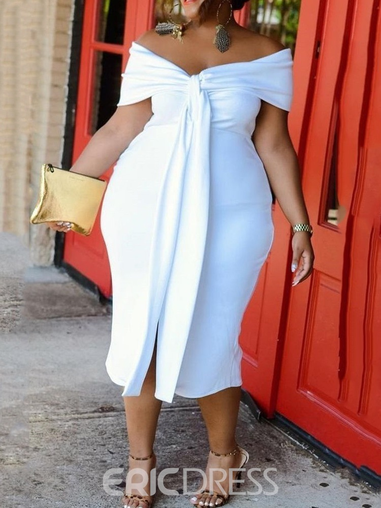 Ericdress Mid-Calf Lace-Up Short Sleeve Pullover Plain White Bodycon Dress Plus Size