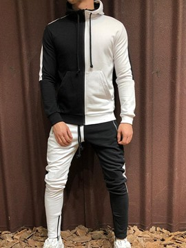 Ericdress Jacket Color Block Lace-Up Men's Outfit