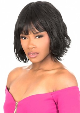 Ericdress African American Women's Short Wavy Bob Style Human Hair Capless Wigs With Bangs 12Inch