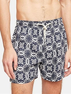 Ericdress Lace-Up Floral Print Straight Men's Beach Shorts