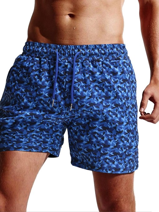 Ericdress Lace-Up Straight Camouflage Men's Beach Shorts