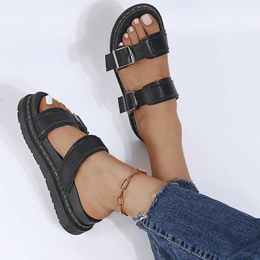 Ericdress Slip-On Flat With Buckle Rubber Women's Slippers