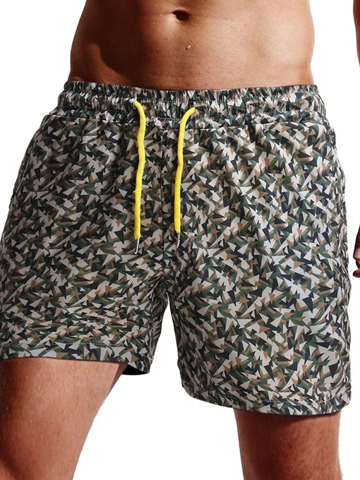 Ericdress Camouflage Straight Lace-Up Beach Men's Shorts
