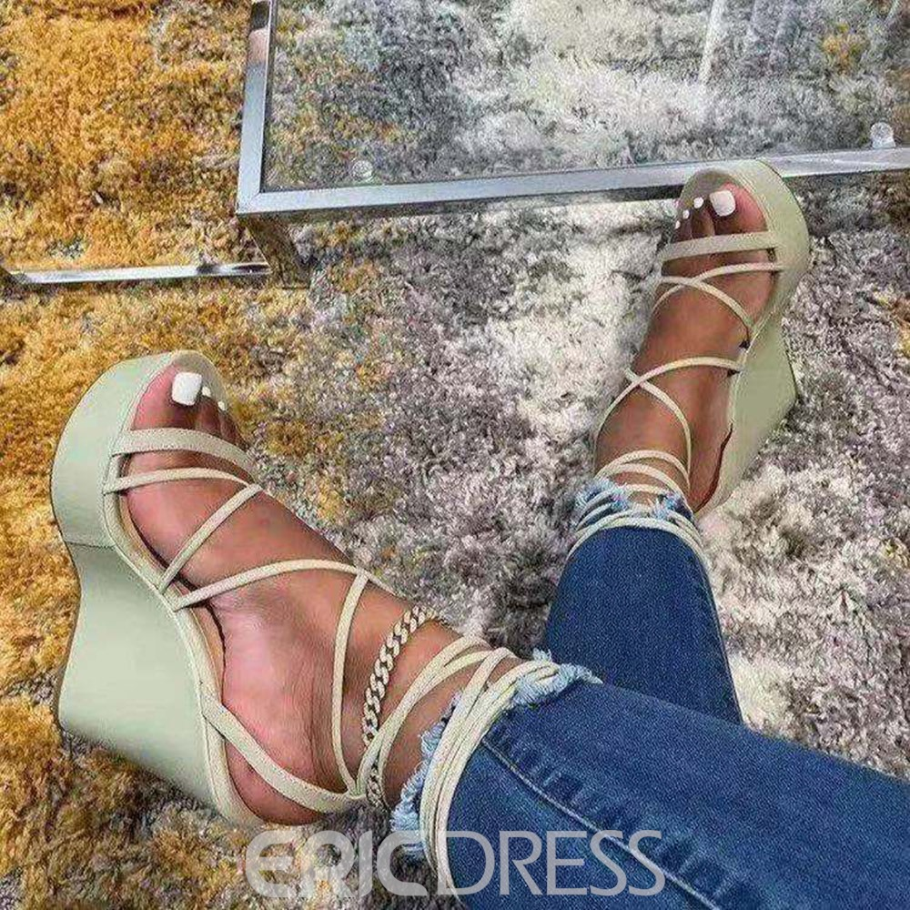 Ericdress Wedge Heel Lace-Up Open Toe Lace-Up Women's Sandals
