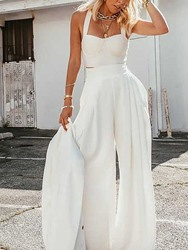 Ericdress Sexy Plain Pants Pullover Wide Legs Two Piece Sets White Pants Set