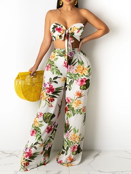 Ericdress Fashion Backless Pants Wide Legs Two Piece Sets Pants Set