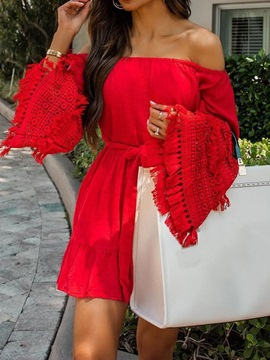 Ericdress Long Sleeve Lace-Up Off Shoulder Fashion Bodycon Dress