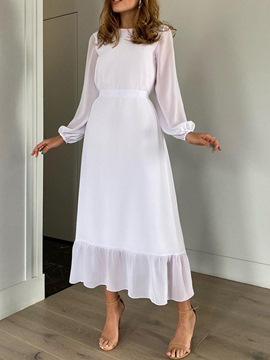 Ericdress Ankle-Length Backless Long Sleeve A-Line White Dress