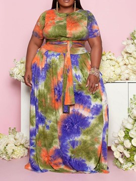Ericdress Print Office Lady Skirt Pullover Round Neck Two Piece Sets Dress Sets Plus Size