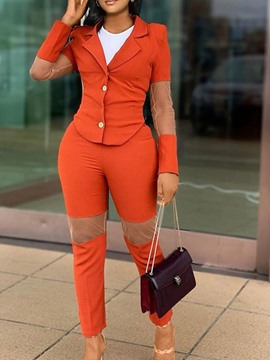 Ericdress Office Lady Button Color Block Single-Breasted Pencil Pants Two Piece Sets Pants Set