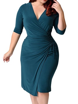 Ericdress V-Neck Mid-Calf Lace-Up Lace-Up Asymmetrical Bodycon Dress Plus Size